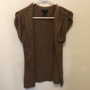 Cardigan - open  sleeveless brown
